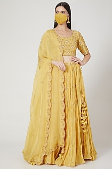 Yellow Pure Chanderi Lehenga Set by SURBHI SHAH-POPULAR PRODUCTS AT STORE