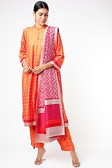 Orange Bandhani Printed Kurta Set by Sunita Shanker-POPULAR PRODUCTS AT STORE