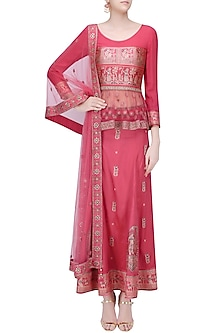 Pink Baluchari and Net Peplum Top with Pink Godet Long Skirt by Sumona