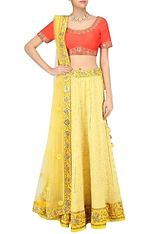 Yellow Embroidered Lucknowi Lehenga Skirt and Orange Blouse Set by Sumona