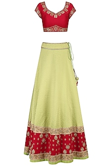 Apple Green Embroidered Lehenga and Blood Red Blouse Set by Sumona