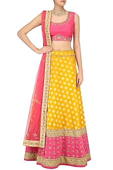 Mustard Yellow Embroidered Lehenga and Onion Pink Blouse Set by Sumona