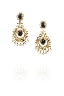18k gold washed moon stone drop danglers by Sumona