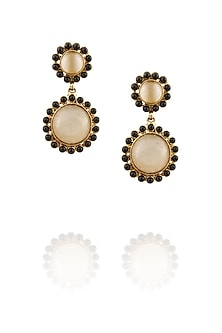 18k gold washed earrings with moon stones and black onyx stones by Sumona