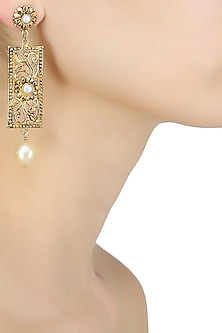 18k gold washed rectangle shaped pearl drop earrings by Sumona