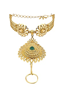 Gold Finish Yellow Topez and Green Onyx Haathphool/ Hand Harness by Sumona