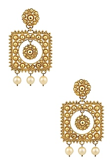 Gold Finish Pearl Hanging Square Earrings by Sumona