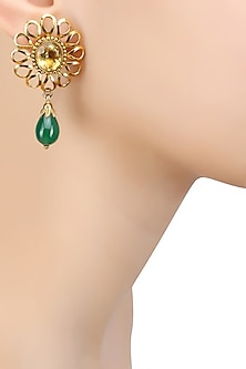 Gold Finish Yellow Topez and Green Onyx Earrings by Sumona