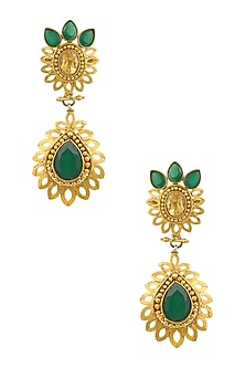 Gold Finish Green Onyx Tear Drop Earrings by Sumona
