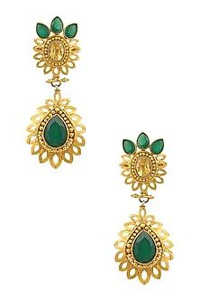 Gold Finish Green Onyx Tear Drop Earrings by Sumona