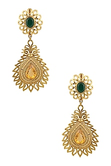 Gold Finish Green Onyx and Yellow Topez Tear Drop Earrings by Sumona
