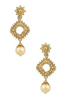 Gold Finish Pearl Drop Diamond Shape Textured Earrings by Sumona