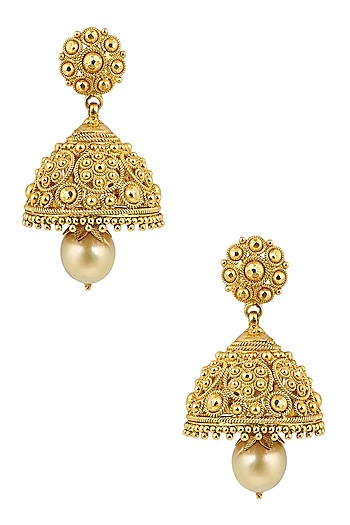 Gold Finish Beads Jaal Jhumki Earrings by Sumona