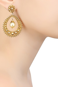 Gold Finish Pearl Oval Shape Earrings by Sumona