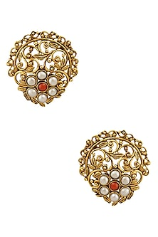 Gold Finish Pearls Floral Jaal Stud Earrings by Sumona