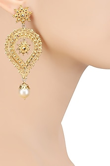 Gold Finish Shell Pearl Tear Drop Earrings by Sumona