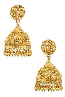 Gold Finish Beads Jaal Jhumki Earrings by Sumona
