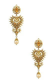 Gold Finish Yellow Topez Heart Motif Earrings by Sumona