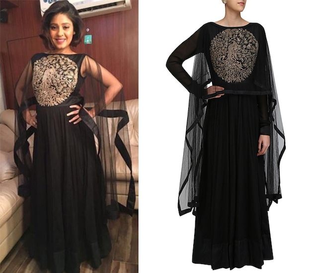 Black Embroidered Kalidaar Kurta with Drape Sleeves by Vasavi Shah