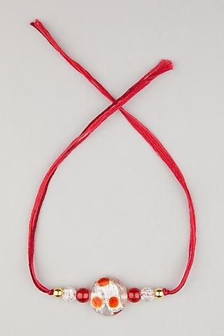 Red Thread & Stone Rakhis (Set of 2) by Surabhi Arya