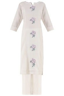 White Thread Embroidered Kurta and Palazzo Pants Set by Surabhi Arya