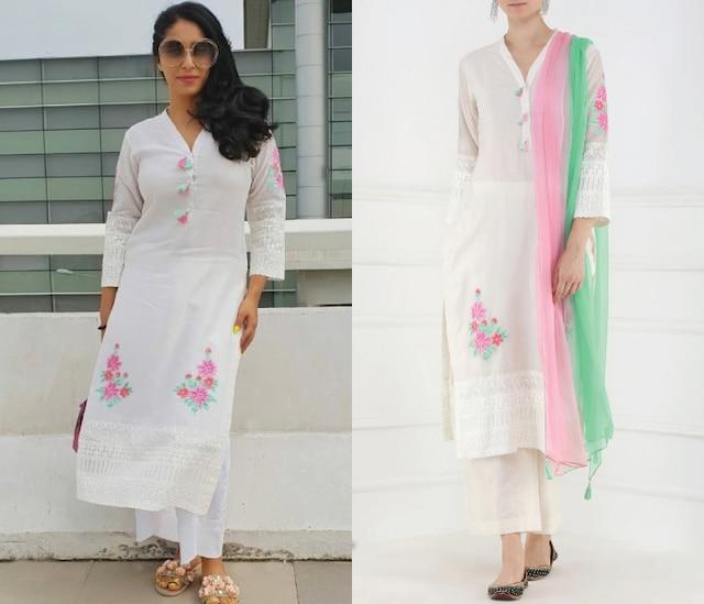 White Embroidered Motifs Kurta and Palazzo Pants Set by Surabhi Arya