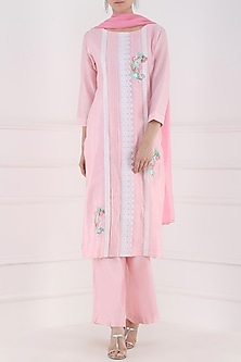 Blush Pink Thread Embroidered Kurta and Palazzo Pants Set by Surabhi Arya