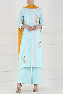 Powder Blue Thread Embroidered Kurta and Palazzo Pants Set by Surabhi Arya