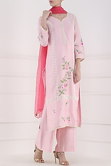 Blush Pink Embroidered Motifs Kurta and Palazzo Pants Set by Surabhi Arya