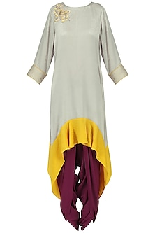 Grey Asymmetric Tunic with Purple Dhoti Pants Set by Surabhi Arya