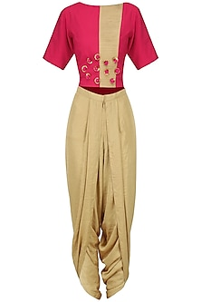 Pink Embroidered Crop Top with Gold Dhoti Pants Set by Surabhi Arya