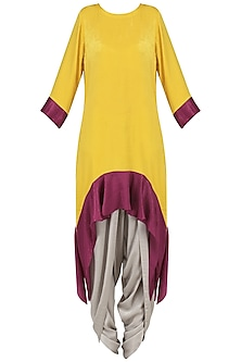 Yellow Asymmetric Tunic with Dhoti Pants Set by Surabhi Arya