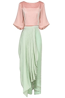 Pink Embroidered Top with Drape Dhoti Pants Set by Surabhi Arya