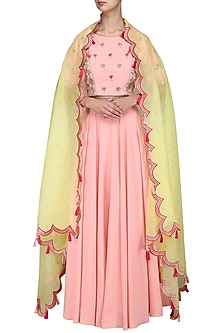 Pink and Yellow Embroidered Lehenga Set by Surabhi Arya