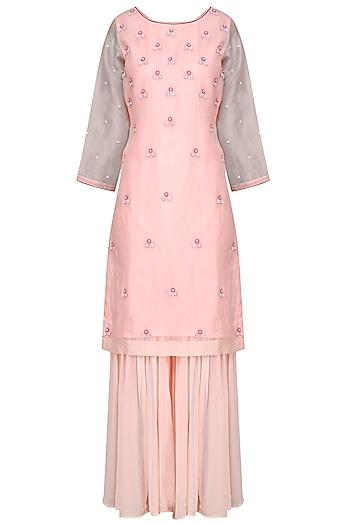 Pink Embroidered Sharara Set by Surabhi Arya