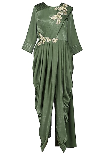 Sap Green Embroidered Draped Saree by Surabhi Arya