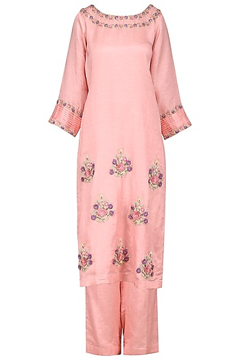 Pink Embroidered Kurta with Palazzo Pants by Surabhi Arya