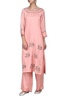 Pink Embroidered Kurta with Palazzo Pants by Surabhi Arya