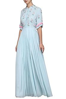 Powder Blue Embroidered Gown by Surabhi Arya