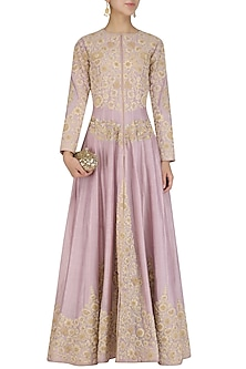 Purple Dori Embroidery Anarkali by Surabhi Arya