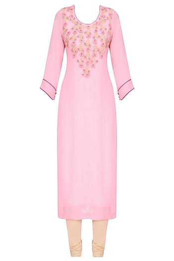 Baby Pink and Gold Embroidered Long Tunic by Surabhi Arya