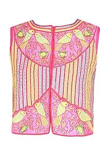 Pink bird motifs zig zag embroidered jacket by Surabhi Arya
