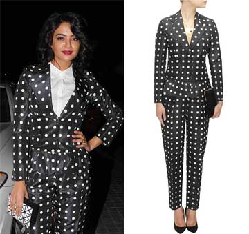 Black taffeta polka dot printed suit set by Ashish N Soni