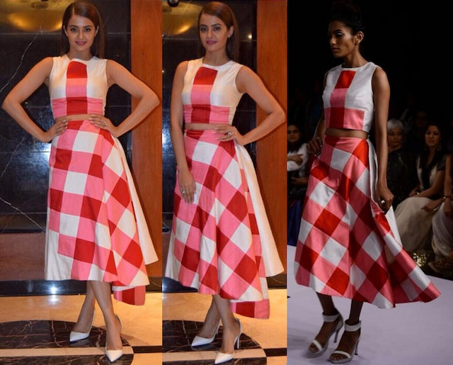 Red and white gingham asymmetrical skirt by Urvashi Joneja