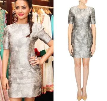 Grey jacquard shift dress by Shift by Nimish