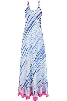 Blue and White Tye and Dye Maxi Dress by Soutache