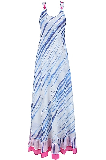 Blue and White Tye and Dye Maxi Dress by Soutache