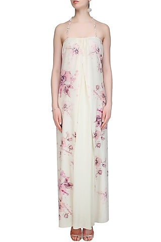 Cream and Pink Floral Printed Double Layered Dress by Soutache