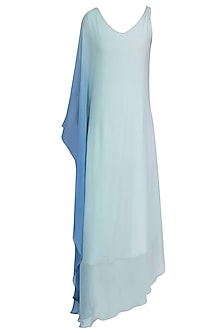 Aqua Blue Ombre Shaded One Sleeve Dress by Soutache