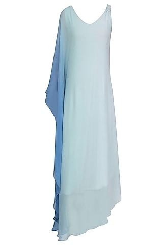 Aqua Blue Ombre Shaded One Sleeve Dress by Soutache